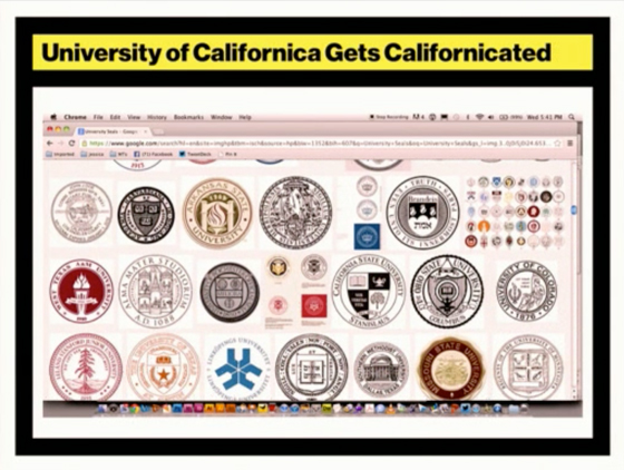 Armin showing the uniqueness of the University of California seal.