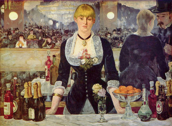 First ever product placement. Edouard Manet's 1882 A Bar at Folies-Bergere.